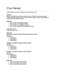 Cleaning Industry Resume Template